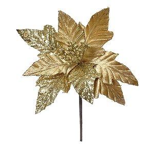 Flor Cabo Curto Poinsettia Ouro e Glitter 30cm - 01 unidade - Cromus Natal - Rizzo Embalagens
