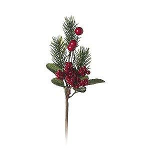 Pick com Galhos Folhas Frutas 20cm - 01 unidade - Cromus Natal - Rizzo Embalagens