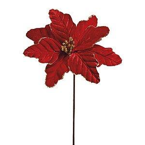 Flor Cabo Curto Vermelho com Borda Glitter Ouro 15cm - 01 unidade - Cromus Natal - Rizzo Embalagens