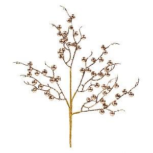 Galho Médio Frutos Rose Gold com Glitter 45cm - 01 unidade - Cromus Natal - Rizzo Embalagens