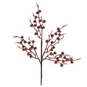 Galho Médio Frutos Vermelho com Glitter 45cm - 01 unidade - Cromus Natal - Rizzo Embalagens