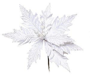 Flor Cabo Curto Poinsettia Branco Glitter 30cm - 01 unidade - Cromus Natal - Rizzo Embalagens