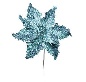 Flor Cabo Médio Poinsettia Turquesa com Glitter 42cm - 01 unidade - Cromus Natal - Rizzo Embalagens
