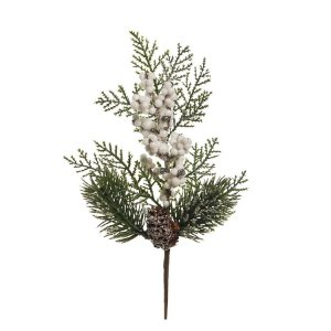 Galho Curto Pinha Frutos Brancos 25cm - 01 unidade - Cromus Natal - Rizzo Embalagens