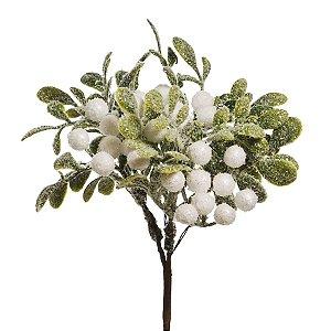 Pick Galho Verde e Branco 15cm - 01 unidade - Cromus Natal - Rizzo Embalagens