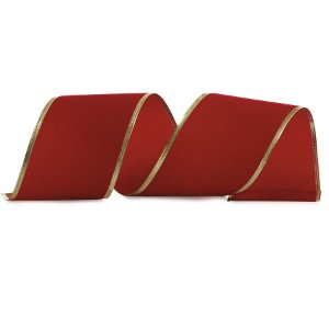 Fita Veludo Vermelho 10cm - 01 unidade 10m- Cromus Natal - Rizzo Embalagens