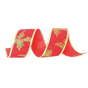 Fita Veludo Azevinho Vermelho 6,3cm - 01 unidade 10m- Cromus Natal - Rizzo Embalagens