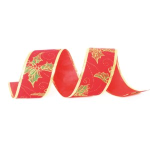 Fita Veludo Azevinho Vermelho 3,8cm - 01 unidade 10m- Cromus Natal - Rizzo Embalagens