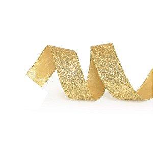 Fita Tecido Glitter Ouro 3,8cm - 01 unidade 10m- Cromus Natal - Rizzo Embalagens