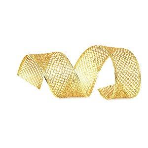 Fita Tela Dourada Brilhante 6,3cm - 01 unidade 10m- Cromus Natal - Rizzo Embalagens