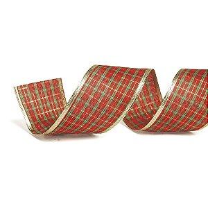 Fita Tecido Xadrez Vermelho 3,8cm - 01 unidade 10m- Cromus Natal - Rizzo Embalagens