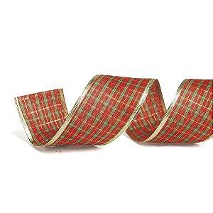 Fita Tecido Xadrez Vermelho 6,3cm - 01 unidade 10m- Cromus Natal - Rizzo Embalagens