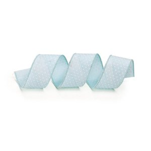 Fita Tecido Azul Poá Branco 6,3cm - 01 unidade 10m- Cromus Natal - Rizzo Embalagens