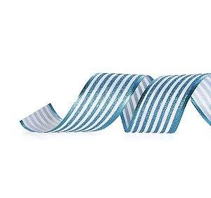 Fita Tecido Listras Glitter Azul e Branco 3,8cm - 01 unidade 10m- Cromus Natal - Rizzo Embalagens