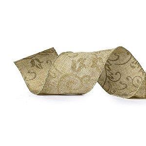 Fita Tecido Nude com Arabescos Dourados 6,3cm - 01 unidade 10m- Cromus Natal - Rizzo Embalagens