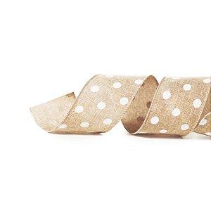 Fita Tecido Nude Bolas Brancas 3,8cm - 01 unidade 10m- Cromus Natal - Rizzo Embalagens