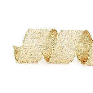 Fita Tecido Nude Rústico com Borda Dourada 6,3cm - 01 unidade 10m- Cromus Natal - Rizzo Embalagens