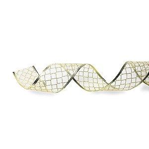 Fita Voal Voal com Losangos Dourados 3,8cm - 01 unidade 10m- Cromus Natal - Rizzo Embalagens