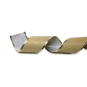 Fita Tecido Glitter Ouro 6,3cm - 01 unidade 10m- Cromus Natal - Rizzo Embalagens