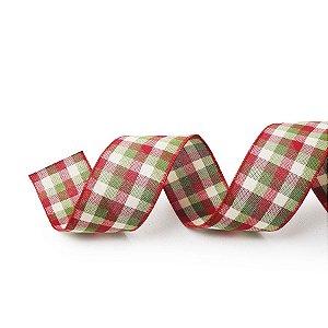 Fita Tecido Xadrez Vermelho e Verde 3,8cm - 01 unidade 10m- Cromus Natal - Rizzo Embalagens