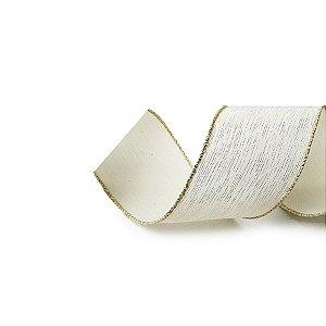 Fita Tecido Riscas Marfim 6,3cm - 01 unidade 10m- Cromus Natal - Rizzo Embalagens