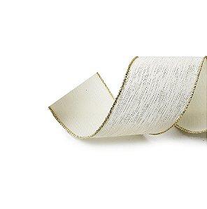 Fita Tecido Riscas Marfim 3,8cm - 01 unidade 10m- Cromus Natal - Rizzo Embalagens