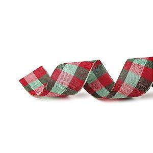 Fita Tecido Xadrez Largo Vermelho e Verde 6,3cm - 01 unidade 10m- Cromus Natal - Rizzo Embalagens