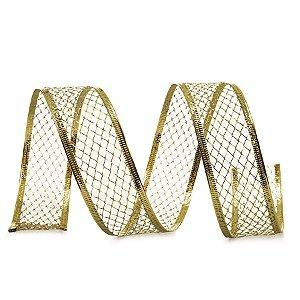 Fita Tela Ouro 6,3cm - 01 unidade 10m- Cromus Natal - Rizzo Embalagens