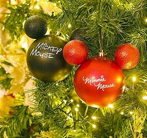 Kit Bolas Mickey e Minnie Mouse Preto e Vermelho 8cm - 04 unidades Natal Disney - Cromus Natal - Rizzo Embalagens