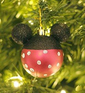 Kit Bolas Minnie Poá  10cm - 02 unidades Natal Disney - Cromus - Rizzo Embalagens