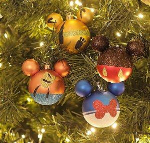 Kit Bolas Pluto Pateta Pato Donald e Mickey 8cm - 04 unidades Natal Disney - Cromus - Rizzo Embalagens