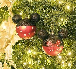 Kit Bolas Mickey e Minnie Poá 8cm - 04 unidades Natal Disney - Cromus - Rizzo Embalagens