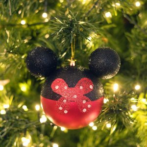 Kit Bolas Minnie Laço Poá 10cm - 02 unidades Natal Disney - Cromus - Rizzo Embalagens