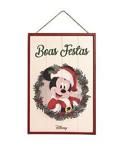 Quadro de Madeira Mickey Boas Festas 40cm - 01 unidade Natal Disney - Cromus - Rizzo Embalagens