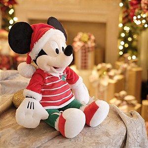 Mickey de Pelúcia com Roupa Listrada 35cm - 01 unidade Natal Disney - Cromus - Rizzo Embalagens