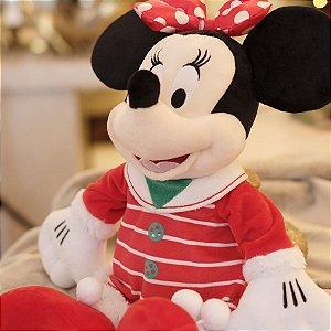 Minnie de Pelúcia com Vestido Listrado 45cm - 01 unidade Natal Disney - Cromus - Rizzo Embalagens