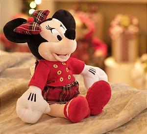 Minnie de Pelúcia de Pelúcia com Vestido Xadrez 45cm - 01 unidade Natal Disney - Cromus - Rizzo Embalagens