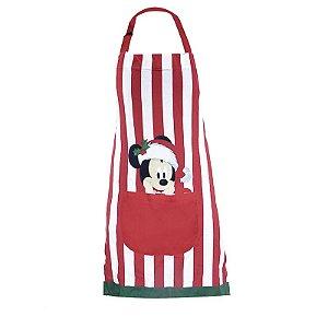 Avental Mickey Mouse Listras Vermelho e Branco 80cm - 01 unidade Natal Disney - Cromus - Rizzo Embalagens