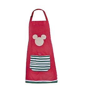 Avental Mickey Mouse Vermelho e Verde 80cm - 01 unidade Natal Disney - Cromus - Rizzo Embalagens