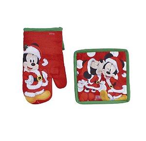 Kit Luva e Pegador Cozinha Mickey Mouse Vermelho - 01 unidade Natal Disney - Cromus - Rizzo Embalagens