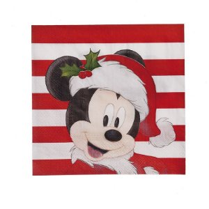 Guardanapo de Papel Mickey Mouse Gorro - 20 folhas Natal Disney - Cromus - Rizzo Embalagens