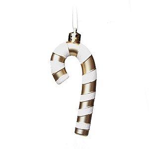 Enfeite para Pendurar Bengala Curvada Ouro 10cm - 06 unidades - Cromus Natal - Rizzo Embalagens