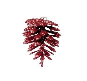 Enfeite para Pendurar Pinha Vermelho Glitter 5cm - 01 unidade - Cromus Natal - Rizzo Embalagens