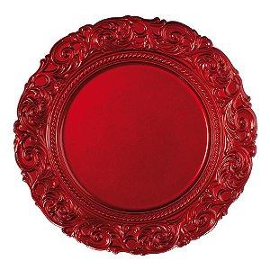 Sousplat Vermelho Trabalhado 33cm - 01 unidade - Cromus Natal - Rizzo Embalagens