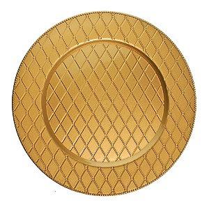 Sousplat Ouro Losangos 33cm - 01 unidade - Cromus Natal - Rizzo Embalagens