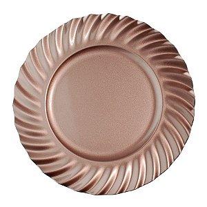 Sousplat Rose Gold Bordas Ondas 33cm - 01 unidade - Cromus Natal - Rizzo Embalagens