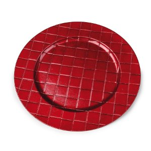 Sousplat Relevo Quadrados Vermelho 33cm - 01 unidade - Cromus Natal - Rizzo Embalagens