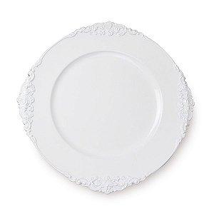 Sousplat Branco Provençal 33cm - 01 unidade - Cromus Natal - Rizzo Embalagens