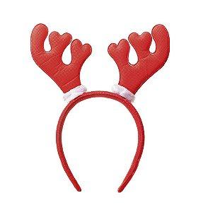 Tiara com Chifres Rena Vermelho - 01 unidade - Cromus Natal - Rizzo Embalagens