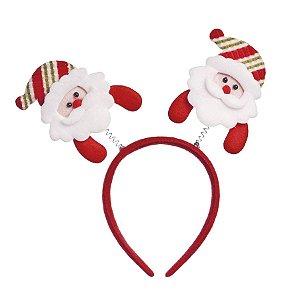 Tiara com Noéis Vermelho - 01 unidade - Cromus Natal - Rizzo Embalagens